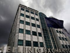 A European flag flies outside the Athens stock exchange in Athens
