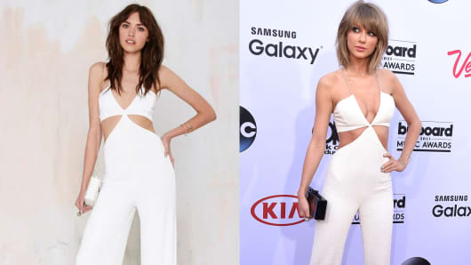 Nasty Gal's Frisco Inferno Knit Cutout Jumpsuit, left; Taylor Swift in Balmain at the Billboard Music Awards.