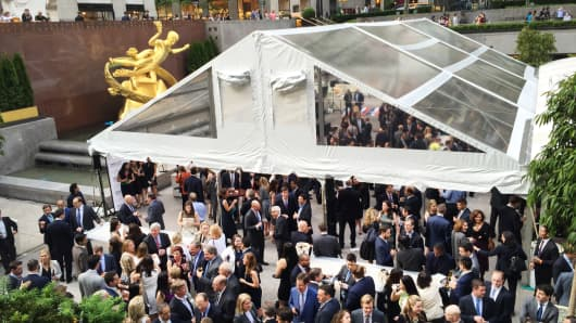 The Leveraged Finance Fights Melanoma charity event at Rockefeller Center, May 19, 2015.