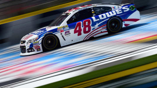 Jimmie Johnson, driving the No. 48 Lowe's Patriotic Chevrolet.