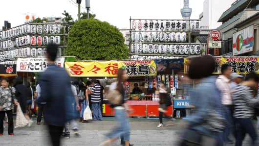 Food stalls near the Sensoji temple in Tokyo, Japan