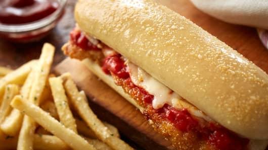 Olive Garden's Chicken Parmesan Breadstick Sandwich