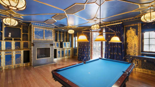 Billiard room at 232 East 63rd St., New York