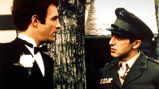 James Caan as Sonny Corleone, left, and Al Pacino as Michael Corleone, in 'The Godfather.'
