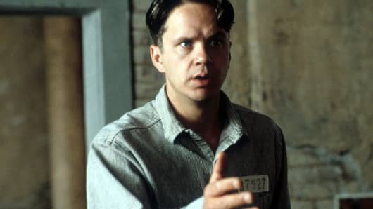 Tim Robbins in a scene from 'The Shawshank Redemption.'