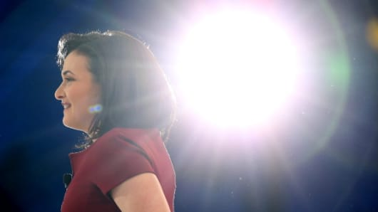 Facebook's Chief Operating Officer Sheryl Sandberg, one of a handful of women in leading positions in the business world.