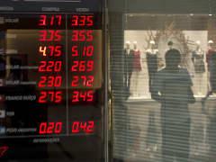 A currency exchange board in Rio de Janeiro, Brazil.