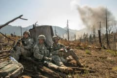 U.S. soldiers during Operation Rock Avalanche in Afghanistan's Korengal Valley, October 2007