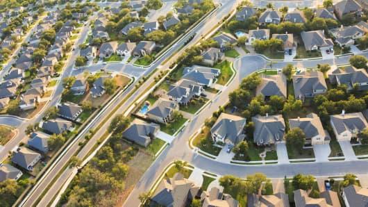 Aerial view of an Austin, Texas suburb.
