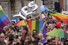 People celebrate a landslide victory of a Yes vote after a referendum on same sex marriage was won by popular ballot vote by a margin of around two-to-one at Dublin Castle on May 23, 2015 in Dublin, Ireland.