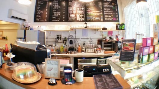 "The ""Coffee Daily"" cafe located in Singapore's northeast district of Serangoon."