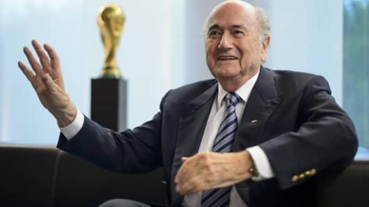 President of International governing body of association football FIFA Sepp Blatter.