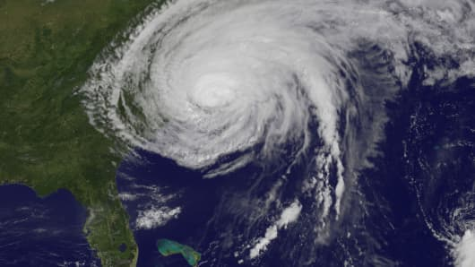In this handout satellite image provided by NASA, Hurricane Irene is seen at 10:10 a.m., about two hours after it made landfall in Cape Lookout, North Carolina, August 27, 2011 in the Atlantic Ocean.