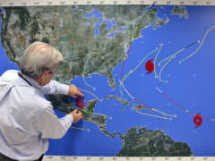 Operations map at the National Hurricane Center.