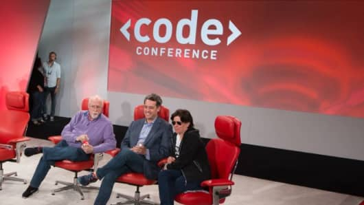 CEO Jim Bankoff with Walt Mossberg and Kara Swisher at Re/code's Code Conference.