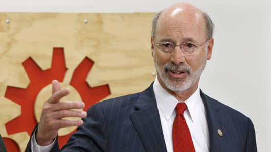 Pennsylvania Gov. Tom Wolf speaks to reporters in Pittsburgh.