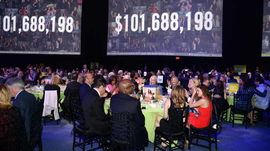 A general view of atmosphere at the Robin Hood Foundation's 2015 Benefit at the Jacob Javits Center on May 12, 2015, in New York City.
