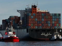 The Hanjin Chongqing container ship departs the Port of Los Angeles in San Pedro, California