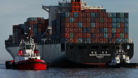 The Hanjin Chongqing container ship departs the Port of Los Angeles in San Pedro, California.