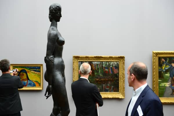 View of the sculpture 'Pensive Woman' (1913/14) by German sculptor Wilhelm Lehmbruck during a press preview of the ImEx (Impressionism, Expressionism) exhibition at Berlin's Alte Nationalgalerie (Old National Gallery) on May 20, 2015.