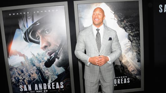 "Actor Dwayne Johnson arrives for the premiere of Warner Bros. ""San Andreas"" a TCL Chinese Theatre on May 26, 2015, in Hollywood."