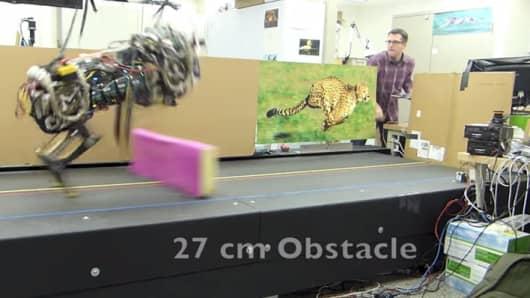 M.I.T.'s cheetah-bot can jump hurdles.
