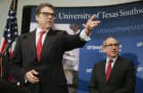 Texas Gov. Rick Perry (L) leads a press conference with UT Southwestern Medical Center President Daniel Podolsky.