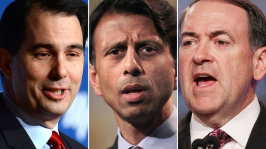 Scott Walker, Bobby Jindal and Mike Huckabee