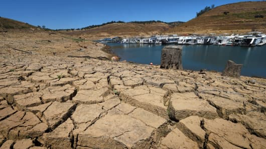 The New Melones Lake reservoir east of Stockton, California.
