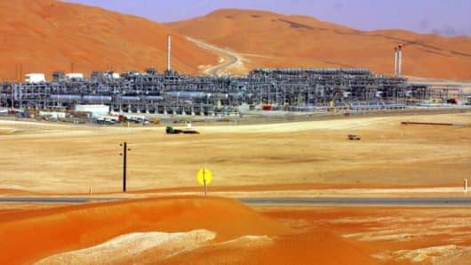 An oilfield development in Saudi Arabia's vast al-Rub al-Khali desert.