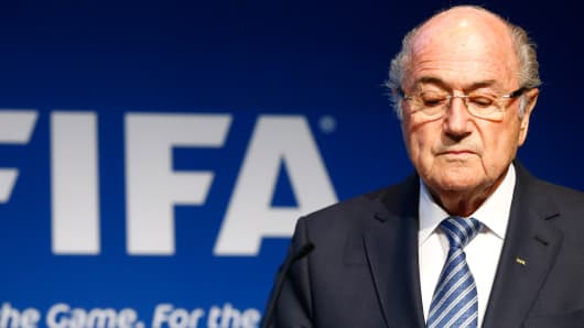 FIFA President Sepp Blatter pauses during a news conference at the FIFA headquarters in Zurich, Switzerland, June 2, 2015.