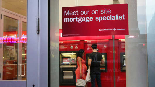 An ad for mortgage assistance at a Bank of America branch in New York.