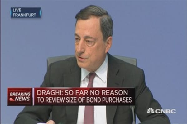 Draghi: No reason to review size of bond purchases