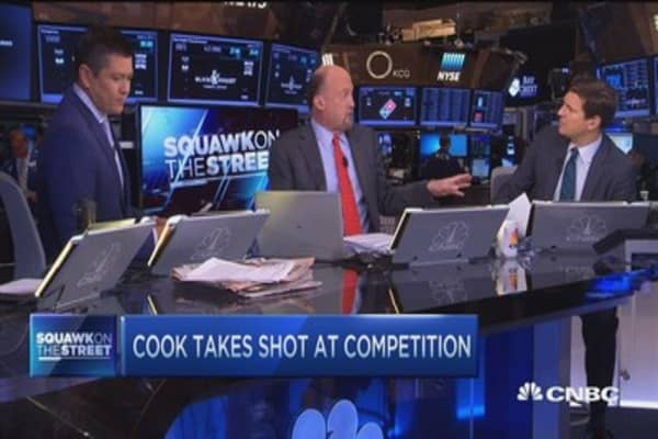 Cramer: Tim Cook comments=Apple Pay pitch