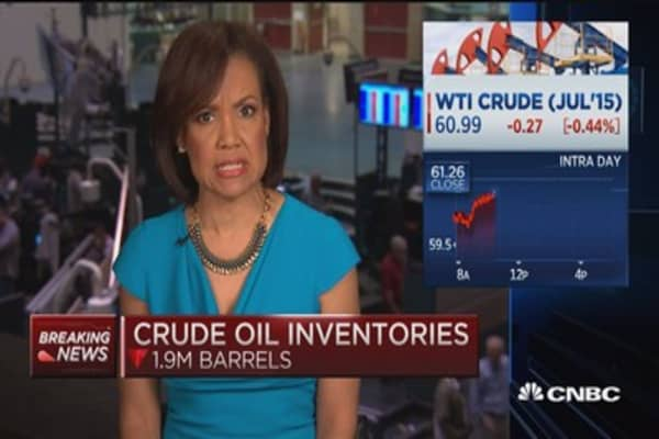 Crude oil inventories decline 1.9M