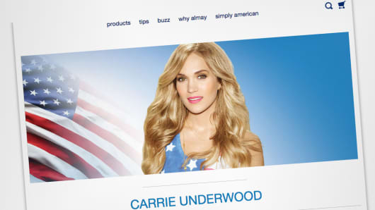 A detail from an Almay website featuring Carrie Underwood