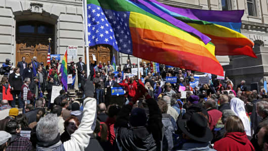 More than 2,000 demonstrators gather at Monument Circle in Indianapolis on March 28, 2015, to protest a controversial religious freedom bill recently signed by Gov. Mike Pence.