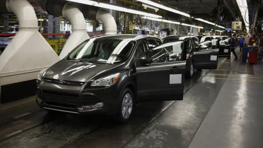 Ford Escape sports utility vehicles on the production line at the Ford Motor Co. assembly plant in Louisville, Kentucky.
