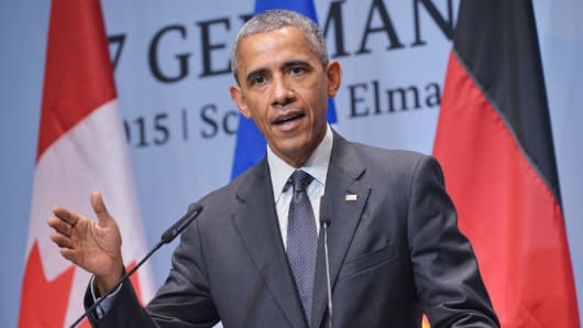 President Barack Obama speaks during a press conference at the G7 Summit at the Schloss Elmau castle resort near Garmisch-Partenkirchen, in southern Germany on June 8, 2015.