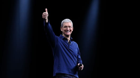 Apple CEO Tim Cook delivers the keynote address during Apple WWDC on June 8, 2015 in San Francisco, California.