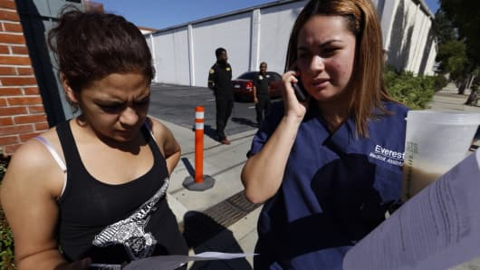 Irlanda Ibarra, 21(R), right and Rosa Enriquez , 23, (L) are among the Medical Assistant students that have been turned away at the gate to Everest College on April 27, 2015 in Alhambra, California.