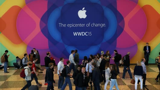 Attendees gather during Apple WWDC on June 8, 2015, in San Francisco.