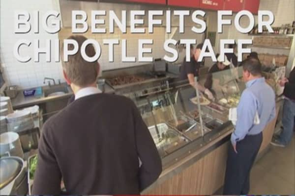 Chipotle offers benefits to part time employees