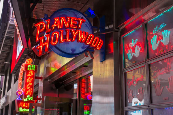 The entrance to Planet Hollywood restaurant in Times Square is viewed on October 24, 2013 in New York City.