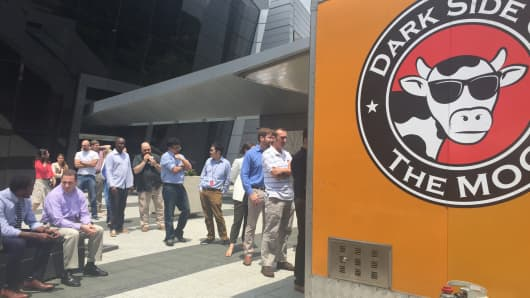A line forms at the Dark Side of the Moo food truck, outside CNBC headquarters in Englewood Cliffs, New Jersey.