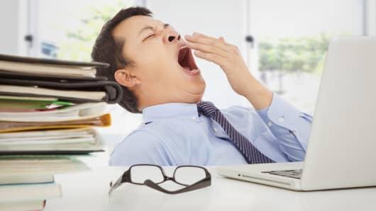 Lazy worker at desk