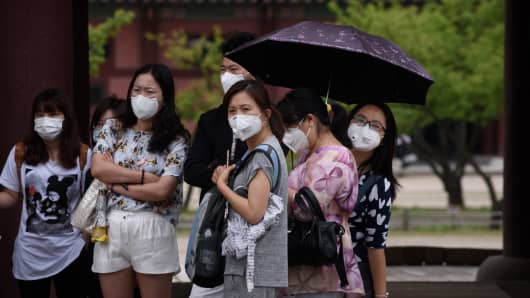 People wearing face masks in South Korea.