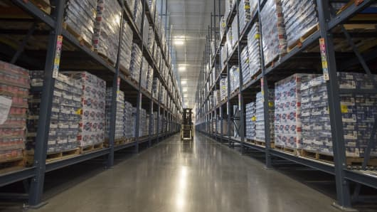 n employee moves inventory at the warehouse of the new Goya Foods Inc. headquarters and distribution facility in Jersey City, New Jersey.
