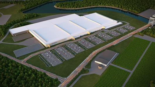 A rendering of the SolarCity factory in Buffalo, N.Y.
