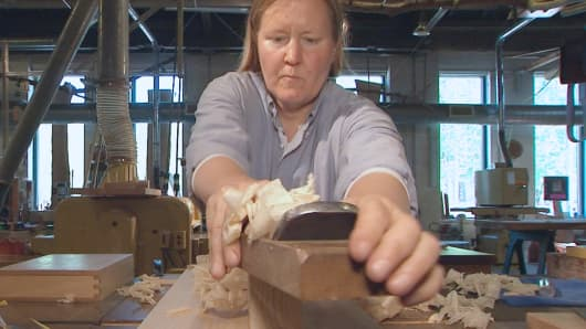 Jessica Wickham, a former technologist with Goldman Sachs, uses traditional Japanese tools and techniques in her Beacon, N.Y. furniture workshop